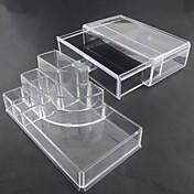 acrílico transparente complejo combinado de doble capa de almacenamiento de cosméticos con cajón organizador cosmética