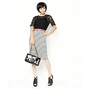 Pan Sexy Collar de la Mujer Zoely color sólido Recortable media manga Negro T Shirt 101121T038
