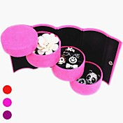 Multi-color de gamuza Cilindro 3-capa en forma de Jewlery Caja de almacenamiento y soporte de exhibición (colores surtidos)