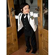 Blanco Sarga Vestido de Padrino - 5 Incluye Chaqueta Pantalones Chaleco Camisa Pajarita