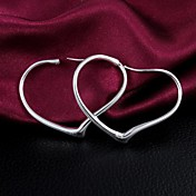 aretes de aro pendientes joyería zircon diario / plateado estilo elegante