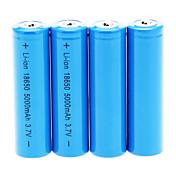 18650 電池 充電式リチウムイオンバッテリー 5000 ミリアンペア時 4本 充電式 のために キャンプ/ハイキング/ケイビング