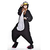 Pijamas Kigurumi Pingüino Pijamas de una pieza Disfraz Lana Polar Negro Cosplay por Adulto Ropa de Noche de los Animales Dibujos animados