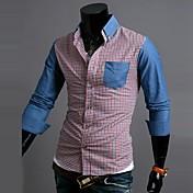Zian® Men's Shirt Collar Fashion Denim Check Contrast Color Casual Long Sleeve Shirt O
