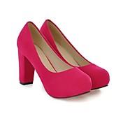 レディース 靴 レザーレット 春 夏 秋 チャンキーヒール とともに 用途 カジュアル ブラック レッド ブルー ベージュ グリーン