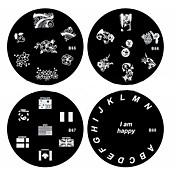 1pcs de uñas sello estampado de la imagen de arte plantilla de la placa b series no.65-68 (modelo surtidos)