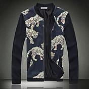 男性用 プレイン カジュアル / オフィス ジャケット,長袖,コットン,ブラック / ブルー