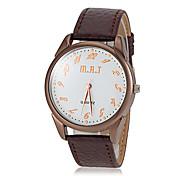 メンズカジュアルダイアルPUバンドクオーツ腕時計(アソートカラー)