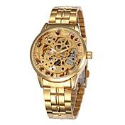 男性 スケルトン腕時計 自動巻き 透かし加工 ステンレス バンド ブラック / シルバー ブランド- SHENHUA