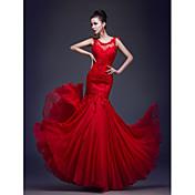 Trompeta / Sirena Escote de ilusión Hasta el Suelo Encaje sobre charmeuse Evento Formal / Gala de Etiqueta Vestido con Apliques / Plisado