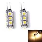 G4 LED2本ピン電球 13 LEDの SMD 5050 温白色 130~150lm 3000~3500K DC 12V