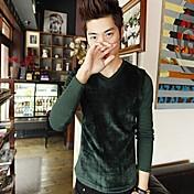 男性用 プレイン カジュアル Tシャツ,長袖 コットン,ブラック / ブラウン / グリーン / ホワイト