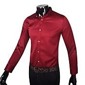 Camisa De los hombres Un Color Trabajo-Algodón-Manga Larga-Negro / Rojo / Blanco