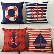 4つの正方形の18x18inch航海スタイルのアンカーセーラーセーリングクッションカバーソファの装飾のセット枕クッションケースを投げる