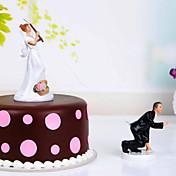 resina hermosa del tema de topper de la torta con la recepción nupcial elegante