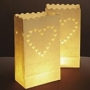 大きなハート形のカットアウトペーパー光る紙ランプ(4個セット)