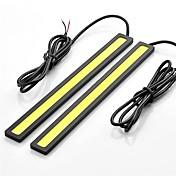 2個17センチメートル6ワット600-700lmデイタイムランニングライト黄色ハイパワーCOBのDRL防水IP68日光(12V)