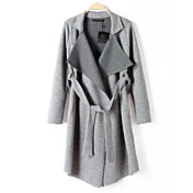 プラス6女性のラペル首のファッションニットコート