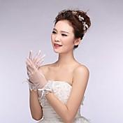 光沢のある結晶asg14とレースとアイボリーチュール指先手首の長さの結婚式の手袋を