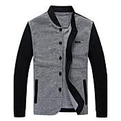 de manga larga de las chaquetas causual del collar del soporte de la manera delgada de Hotta hombres