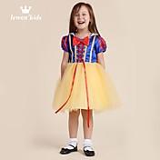 Vestido Chica de Un Color Sin Mangas Primavera Verano Otoño Amarillo
