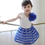 女の子の ストライプ コットン ドレス 夏 半袖 ホワイト ブラック ピンク