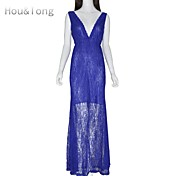 Hou&Tong® Women's Sexy Cocktail V Neck Lace Crochet Maxi Long Mini Bodycon Floral Club Party Backless Dresses