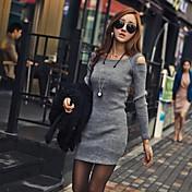 De las mujeres Corte Bodycon Vestido Casual Un Color Sobre la rodilla Escote Cuadrado Otro
