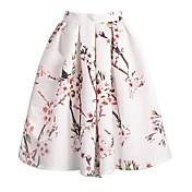 faldas vintage hasta las rodillas con estampado floral de mujer, microelástico satinado