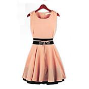 レディース シンプル カジュアル/普段着 Aライン ドレス,カラーブロック ラウンドネック ミニ ノースリーブ 夏 ミッドライズ 伸縮性なし 薄手