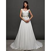 Corte en A Princesa Capilla Raso Vestido de novia con Cuentas Cinta / Lazo En Cruz Fruncido por LAN TING BRIDE®