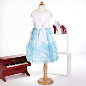 Princesa longitud de la rodilla vestido de niña de flores - cuello joya sin mangas de satén con la cinta