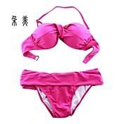 女性用 ソリッド 竹繊維 ビキニ タンキニ スイムウェア イエロー フクシャ ピンク スクリーンカラー ネービーブルー