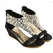 女性用 靴 レザーレット 夏 Tストラップ プラットフォーム ウエッジヒール イミテーションパール のために カジュアル ブラック ゴールド