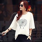 WOMEN - カジュアル - Tシャツ ( コットン ラウンド - 五分袖