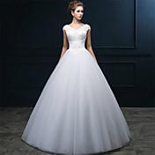 Corte en A Cuello en V Hasta el Suelo Tul Vestido de novia con Cuentas Perla Apliques En Cruz por QQC Bridal