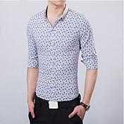 男性用 プリント カジュアル シャツ,長袖 コットン ブルー / レッド / ホワイト