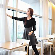 De las mujeres Tallas Grandes Vestido Casual Un Color Sobre la rodilla Escote Redondo Algodón