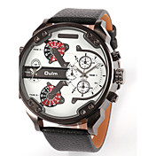 Oulm Hombre Reloj Militar Reloj de Pulsera Cuarzo Cuarzo Japonés Dos Husos Horarios Piel Banda De Lujo Negro Azul Marrón