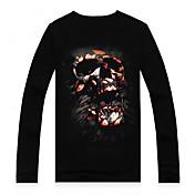 Camisetas ( Algodón/Modal )- Casual/Impresión/Fiesta Redondo Manga Larga para Hombre