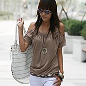 Mujer Chic de Calle Camiseta Un Color