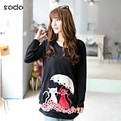Mujer Frunce Estampado - Algodón Camiseta