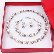 Mujer Juego de Joyas Pendientes cortos hebras de perlas Collar con perlas Perla Elegant Boda Fiesta Cumpleaños Pedida Perla Diamante
