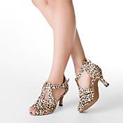 Mujer Latino Salón Satén Tacones Alto Hebilla Tacón Personalizado Leopardo Personalizables