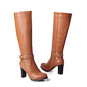 Feminino Sapatos Courino Primavera Outono Inverno Salto Grosso Botas Cano Alto Presilha Para Casual Social Preto Marron