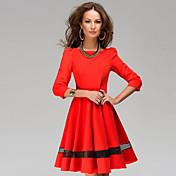 WOMEN - カジュアル - ドレス ( レーヨン ラウンド - 長袖