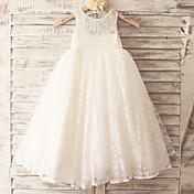 姫の床の長さフラワーガールのドレス - チュールノースリーブスクープネックレスとレース