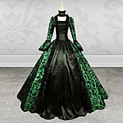 Medieval Victoriano Disfraz Mujer Ropa de Fiesta Baile de Máscaras Verde Cosecha Cosplay Tela de Encaje Manga Larga Poeta