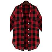 De las mujeres Simple Casual/Diario Otoño Camisa,Cuello Camisero A Cuadros Manga Larga Algodón Rojo / Negro Medio