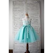 aラインの膝丈のフラワーガールのドレス - thstyleeによるアップリケとレースチュールノースリーブの宝石の首